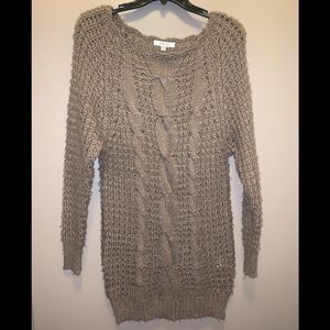 Brown Long Sleeve Sweater Dress, One Size